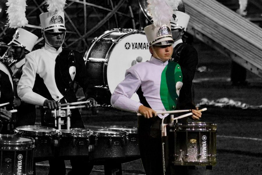 Hitting+the+drum%2C+sophomore+Chris+Masters+performs+at+halftime+during+the+football+game+against+San+Angelo.+Masters+plans+to+be+the+drum+captain+next+season.+%E2%80%9CI+want+to+be+drum+captain+because+past+drum+captains+have+taught+me+a+lot+about+not+only+drumming%2C+but+life+in+itself%2C%E2%80%9D+Masters+said.
