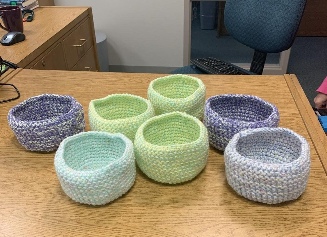 A few birds nests that Debby Barne's Crochet group had made. Barnes had started a crochet group in order to help the displaced wildlife in Australia.