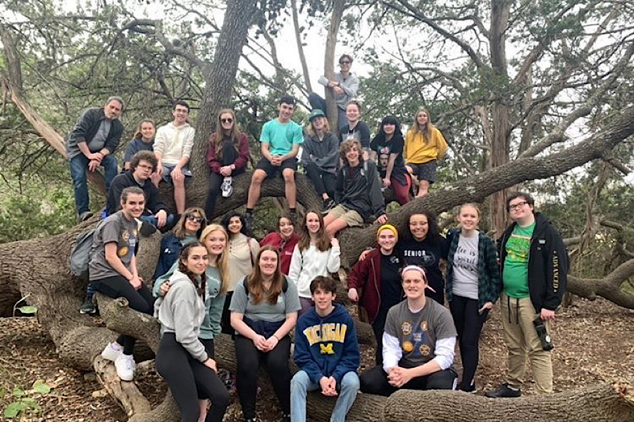 Students+pose+together+during+cabin+week%2C+a+week+where+student+actors+and+tech+kids+came+together+to+practice+their+UIL+performance.+Junior+John+Courtright+played+Michael+Cody%2C+the+father+of+main+character+Andy.+Courtright+said+preparing+for+the+role+took+both+physical+and+mental+changes.%0A%E2%80%9CA+lot+of+my+prep+for+the+role+%5Bwas%5D+trying+to+find+a+middle+ground+between+%E2%80%98angry+alcoholic+father%E2%80%99+and+just+being+a+good+father%2C+but+just+exhausted%2C%E2%80%9D+Courtright+said.+%E2%80%9CMe+and+Katie+Smith%2C+who+plays+my+wife%2C+Angela%2C+worked+a+lot+together+to+establish+our+dynamic+of+being+very+distant+from+each+other%2C+getting+torn+apart+by+our+different+views+on+how+to+take+care+of+our+struggling+son.+To+get+into+character%2C+I+took+a+lot+of+time+before+rehearsal+just+to+focus+on+my+physical+elements+such+as+my+posture.+Once+I+physically+feel+like+him+then+the+mentality+soon+follows.%E2%80%9D+