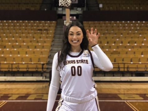 Holding up the Texas State University logo, Senior Nicole Leff accepts her scholarship to play basketball at the Univeristy.