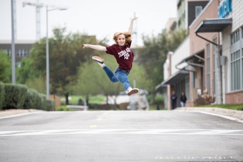 "Posing for senior pictures, senior Cally Hall describes her excitement to continue her 16 year dance journey at Texas A&M. ""I decided A&M was best for me partially because it's the only school in Texas with a dance science degree, but I also was really excited about being part of the massive Aggie network,"" Hall said. ""People are connected all over the world because they're Aggies, and I am super excited to be joining and carrying on that tradition."""