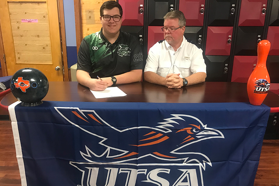 Signing+to+bowl+for+UTSA%2C+senior+Kyle+Redfern+prepares+to+continue+his+competitive+bowling+career+in+college.+%E2%80%9CWhen+I+was+presented+with+the+opportunity+to+sign+with+UTSA%2C+I+was+speechless%2C%E2%80%9D+Redfern+said.+%E2%80%9CIf+someone+had+told+me+%5Bat+the+beginning+of+high+school%5D+that+I+would+be+a+collegiate+bowler%2C++I+wouldn%E2%80%99t+have+been+able+to+respond+and+for+sure+wouldn%E2%80%99t+have+believed+them.%E2%80%9D