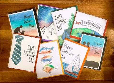 With carefully painted covers, sophomore Claire Poulter showcases some of her favorite greeting cards she made since she began her business. Poulter started Elizabeth Illustrations at the beginning of quarantine because she had a lot of time on her hands and wanted to do something that she was passionate about.
