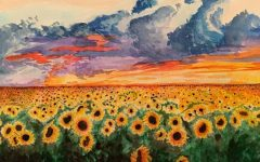 Depicting a field of sunflowers, the painting above is one of many of Spradling's creations from seventh grade.