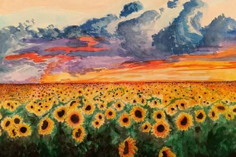 Depicting a field of sunflowers, the painting above is one of many of Spradling