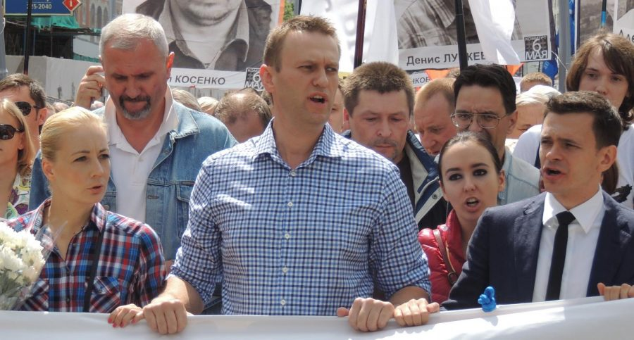 Navalny leading a protest in Moscow in 2013 about the results of the 2011 Russian legislative election. He was arrested two years earlier for participating in the same protest.