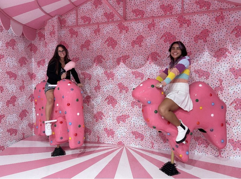 """Riding the pink animal crackers was definitely one of my favorite parts of the Museum of Ice Cream. I loved the incorporation of cotton candy, the funky mirror and the """"Scoop-A-Scoop"""" game where you whack mini ice cream cones. I also really enjoyed the flavor options and definitely recommend Birthday Cake."""